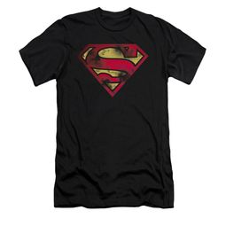 Superman Shirt Slim Fit War Torn Shield Black T-Shirt