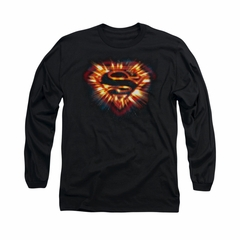 Superman Shirt Space Burst Shield Long Sleeve Black Tee T-Shirt