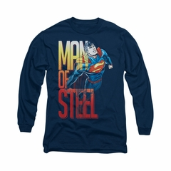 Superman Shirt Steel Flight Long Sleeve Navy Tee T-Shirt
