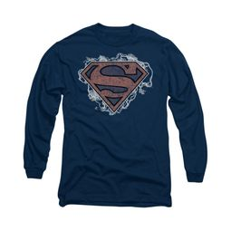 Superman Shirt Storm Clouds Long Sleeve Navy Tee T-Shirt