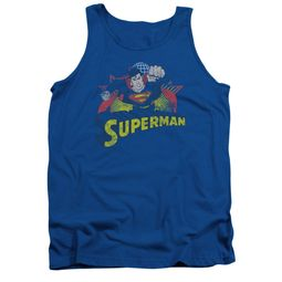 Superman Shirt Tank Top Distresed Royal Tanktop
