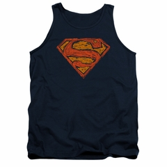 Superman Shirt Tank Top Messy Shield Navy Tanktop