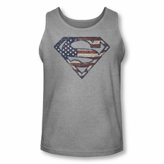 Superman Shirt Tank Top Wartorn Flag Shield Athletic Heather Tanktop