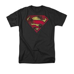 Superman Shirt War Torn Shield Black T-Shirt