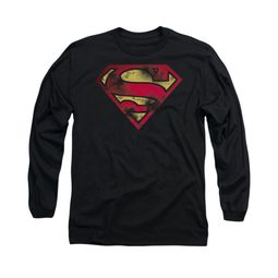Superman Shirt War Torn Shield Long Sleeve Black Tee T-Shirt
