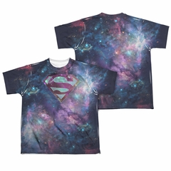 Superman Spaced Out Logo Sublimation Kids Shirt Front/Back Print
