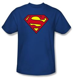 Superman T-shirt Classic Shield Logo Royal Blue Adult Tee Shirt