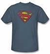 Superman T-shirt Inside Shield Adult Slate Blue Superhero Tee