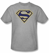 Superman T-shirt Maize And Blue Shield Logo Adult Gray Tee Shirt