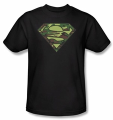 Superman T-shirt Military Camo Logo  Superhero Black Tee Youth
