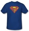 Superman T-shirt Retro Supes Logo Distressed Adult Royal Tee Shirt