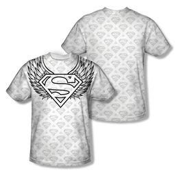 Superman Winged Shield Repeat Sublimation Shirt Front/Back Print