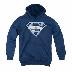 Superman Youth Hoodie Argentinian Shield Navy Kids Hoody