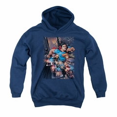 Superman Youth Hoodie Bullet Proof Navy Kids Hoody