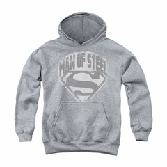 Superman Youth Hoodie Distressed Man Of Steel Athletic Heather Kids Hoody