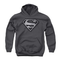 Superman Youth Hoodie Duct Tape Shield Charcoal Kids Hoody