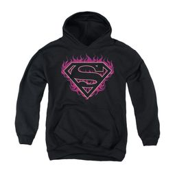 Superman Youth Hoodie Fuchia Flames Black Kids Hoody