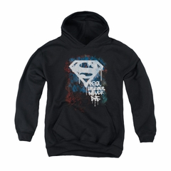 Superman Youth Hoodie Never Die Black Kids Hoody