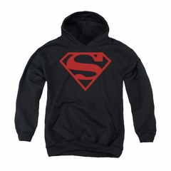 Superman Youth Hoodie Red Shield Black Kids Hoody