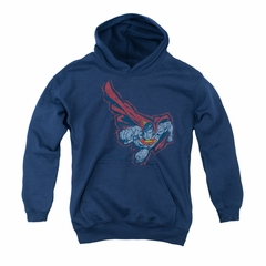 Superman Youth Hoodie Scribble And Soar Navy Kids Hoody