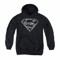Superman Youth Hoodie Urban Digi Camo Shield Black Kids Hoody