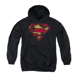 Superman Youth Hoodie War Torn Shield Black Kids Hoody