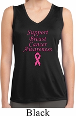 Support Breast Cancer Awareness Ladies Dry Wicking Sleeveless Shirt