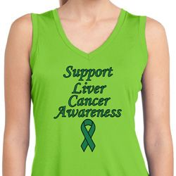 Support Liver Cancer Awareness Ladies Dry Wicking Sleeveless Shirt