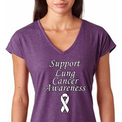Support Lung Cancer Awareness Ladies Shirts
