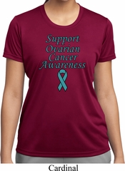 Support Ovarian Cancer Awareness Ladies Dry Wicking T-shirt
