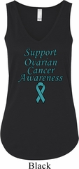 Support Ovarian Cancer Ladies Flowy V-neck Tank Top
