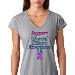Support Thyroid Cancer Awareness Ladies Shirts