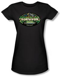 Survivor Juniors T-Shirt - Gabon Logo Black Tee