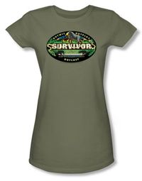 Survivor Juniors T-Shirt - Gabon Logo Light Olive Tee