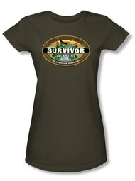Survivor Juniors T-Shirt - Tocantins Logo Military Green Tee