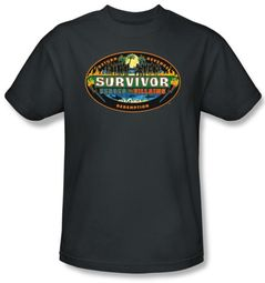 Survivor Kids T-Shirt - Heroes Vs Villains Charcoal Youth