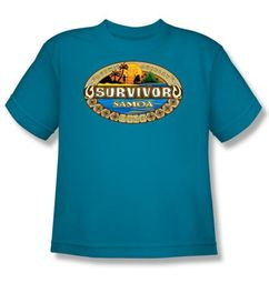 Survivor Kids T-Shirt - Samoa Logo Turquoise Youth
