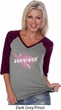 Survivor Wings Ladies Three Quarter Sleeve V-Neck Raglan Shirt