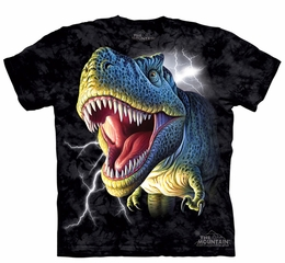 T-Rex Dinosaurs Kids Shirt Tie Dye Lightning T-shirt Tee Youth