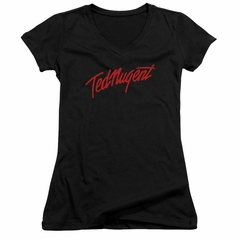Ted Nugent Juniors V Neck Shirt Distress Logo Black T-Shirt