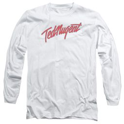 Ted Nugent Long Sleeve Shirt Clean Logo White Tee T-Shirt