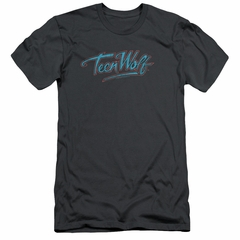 Teen Wolf Slim Fit Shirt Neon Logo Charcoal Tee T-Shirt