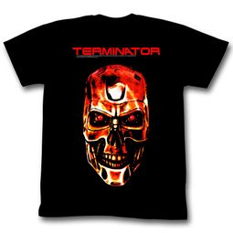 Terminator Shirt Fire Skull Black T-Shirt
