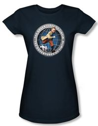 The Adventures Of Tintin Juniors T-Shirt - Globe Navy Blue Tee Shirt