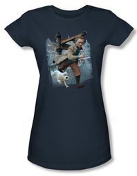 The Adventures Of Tintin Juniors T-Shirt Labrador Street Slate Blue