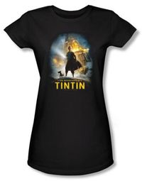 The Adventures Of Tintin Juniors T-Shirt - Poster Black Tee Shirt