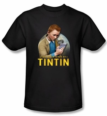 The Adventures Of Tintin Kids T-Shirt Looking For Answers Black Tee