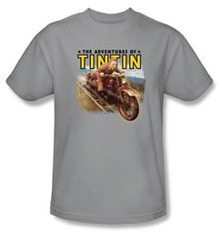 The Adventures Of Tintin Kids T-Shirt Open Road Silver Tee Shirt Youth