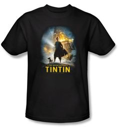 The Adventures Of Tintin Kids T-Shirt � Poster Black Tee Shirt Youth