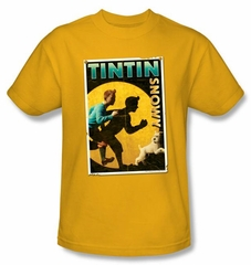 The Adventures Of Tintin Kids T-Shirt Tintin & Snowy Flyer Gold Tee